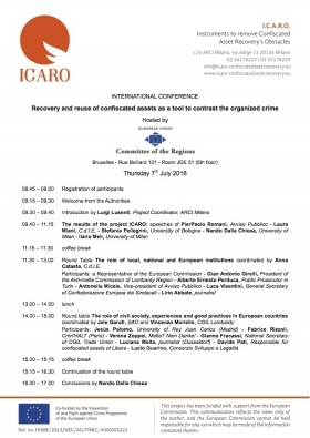 ICARO: conference on the rehabilitation and social re-use of confiscated propert - Centro di Iniziativa Europea